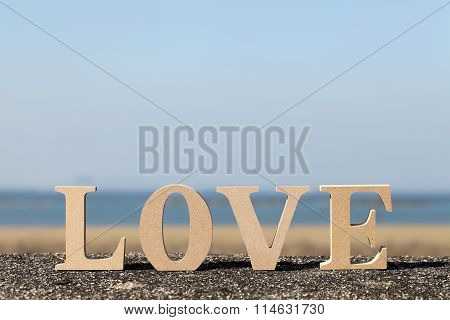 word love made with wooden block