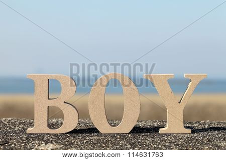 word boy made with wooden block