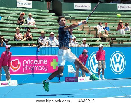 Hyeon Chung of South Korea bashes a forehand