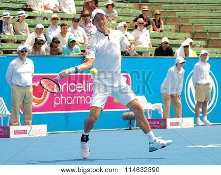 Kei Nishikori of Japan hits forehand