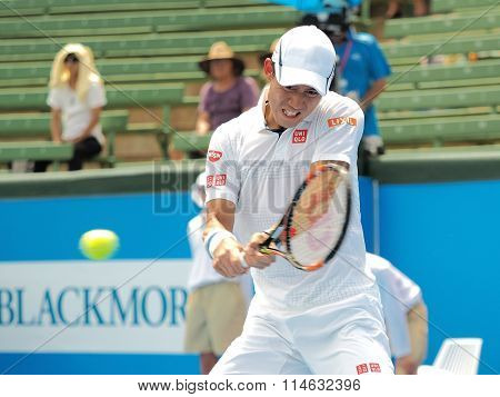 Kei Nishikori of Japan hist a mid hight backhand