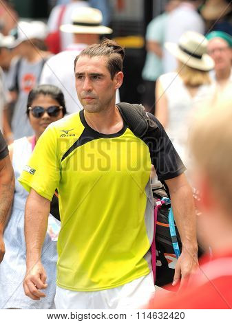 Marcos Bahdatis of Cyprus on the way to Kooyong center court