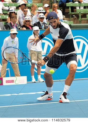 Feliciano Lopez of Spain backhand impact