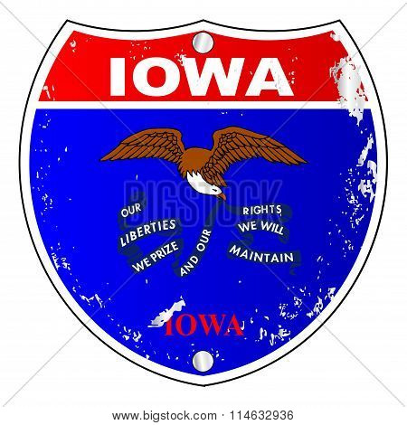 Iowa Flag Icons As Interstate Sign