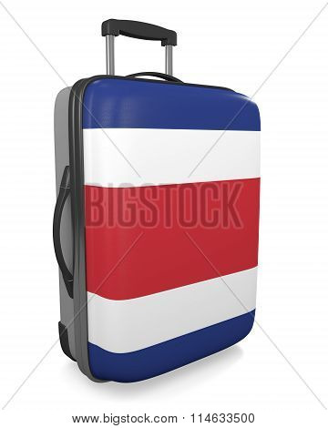 Costa Rica vacation destination concept of a flag painted travel suitcase