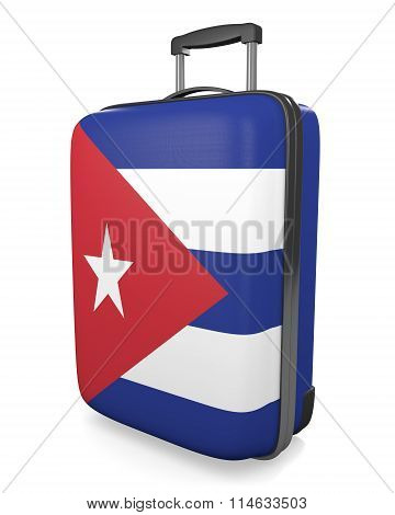 Cuba vacation destination concept of a flag painted travel suitcase