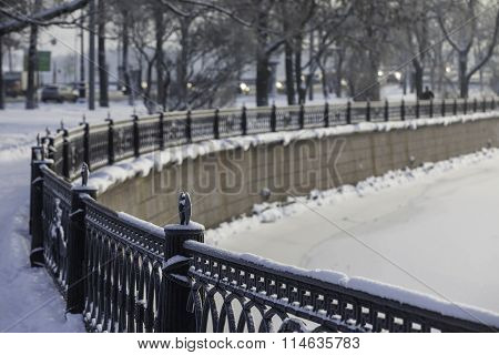 the waterfront Peter and Paul fortress St. Petersburg Russia in winter