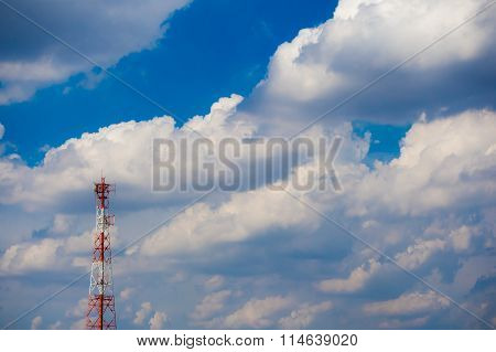 Communication Tower With Blue Sky