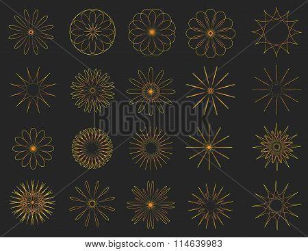 Abstract golden Vintage Sunbusrt elements set. Geopmetrical radial. Modern style