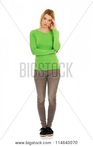Worried casual woman.