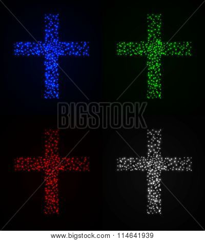 Christian Cross Set On Dark Background