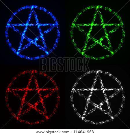 Pentagram Symbols Set On Dark Background