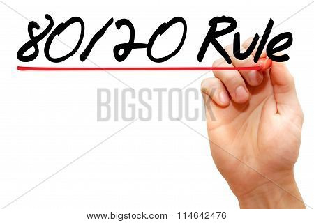 Hand Writing 80 20 Rule With Marker