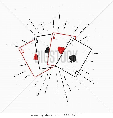 Vintage poker cards illustration. Four Aces. Vector Illustration with sunburst element.