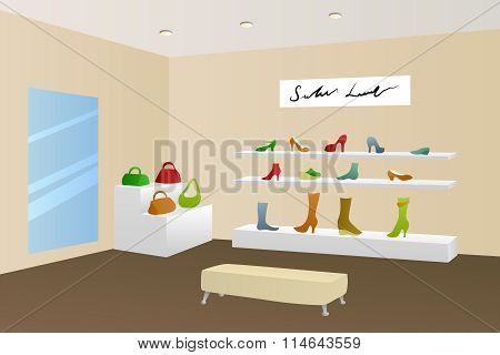 Shoe shop shopping center mall modern beige interior illustration vector