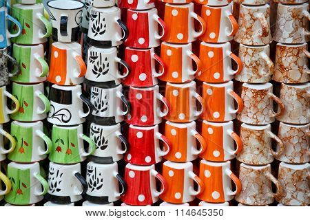 Many colorful hand crafted cups