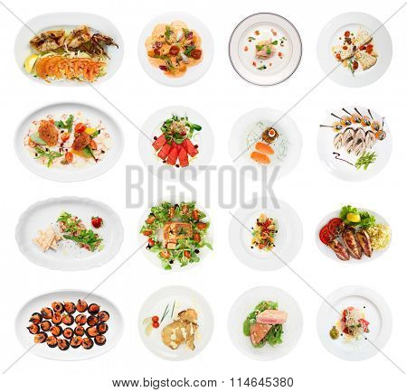 Set of various fish and seafood starters, isolated on white background