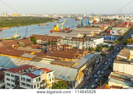HO CHI MINH, VIETNAM - JAN 15, 2016: Top view of the Saigon Port. Saigon Port is a network of ports in Ho Chi Minh City. By 2013, it has become the 24th busiest container port in the world.
