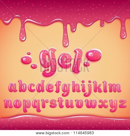 Latin Alphabet Made Of Pink Gel With Sparkles