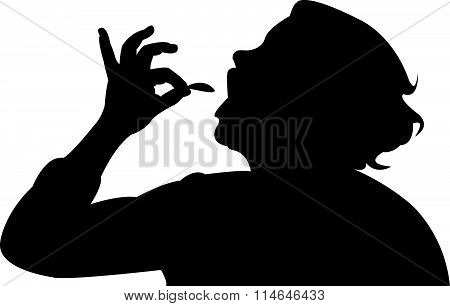 hungry woman eating, silhouette vector art work