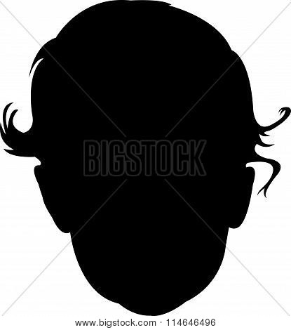 a new born baby head silhouette vector