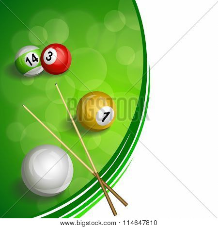 Background abstract green billiard pool cue red yellow white ball illustration vector