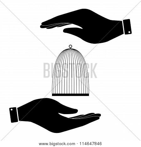Cage in hand icon