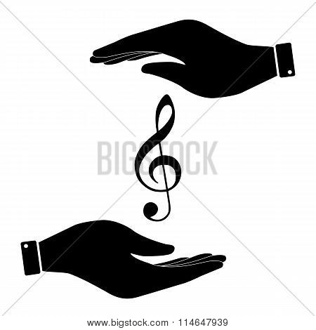 Violine clef in hand icon