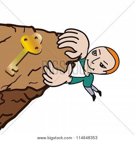 Man Climbing High Cliff To Get Gold Key