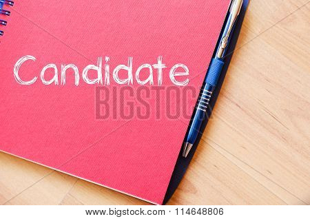 Candidate Write On Notebook