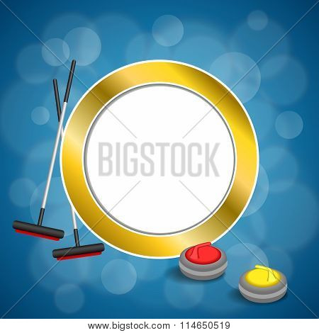 Background abstract curling sport blue ice red yellow stone broom gold circle frame illustration
