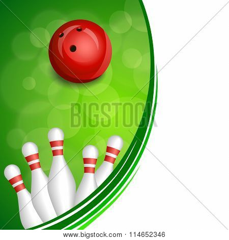 Background abstract green bowling red ball frame illustration vector