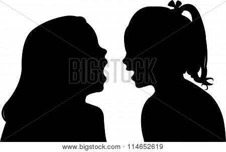 communicating girls silhouette vector