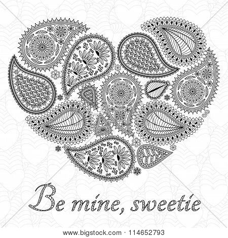 Floral paisley background with ethnic ornament and heart shape. Romantic design in black and white c
