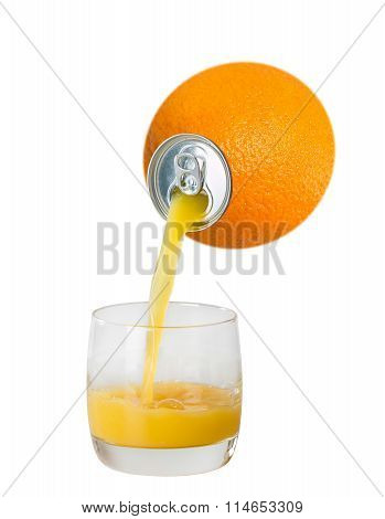 Orange Juice Pouring From Orange Fruit