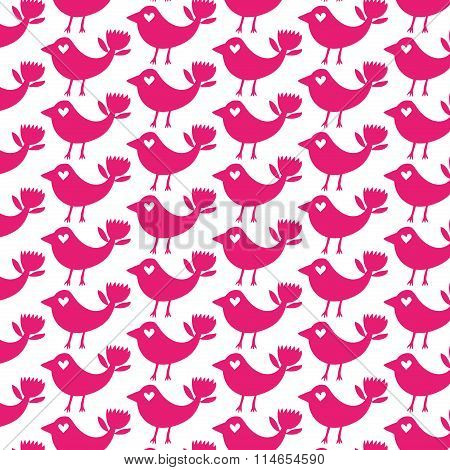 Fantastic bird pink silhouette seamless pattern on a white background