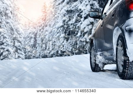 winter road in the morning