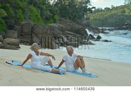 Senior couple exercising  in summer