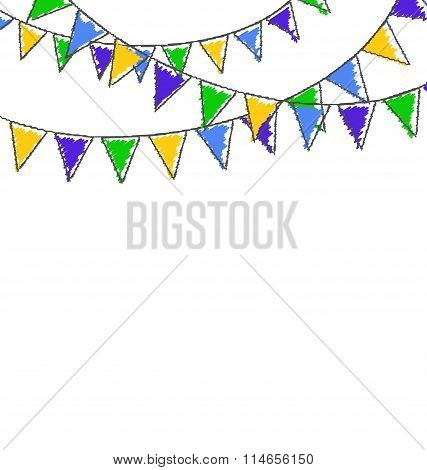 Multicolored hand-drawn buntings garlands in national brazil col