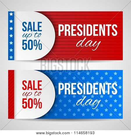 Modern Vector Horizontal Banners, Page Headers With Text For Presidents Day. Banners With Stripes An