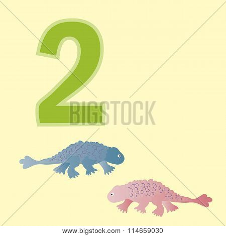 Number Two. Two Dinosaurs (ankylosaurs).