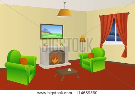 Fireplace living room beige armchair green red lamps window illustration vector