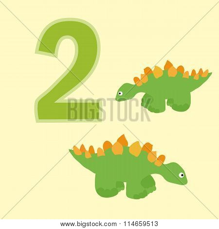 Number Two. Two Dinosaurs (stegosaurus).