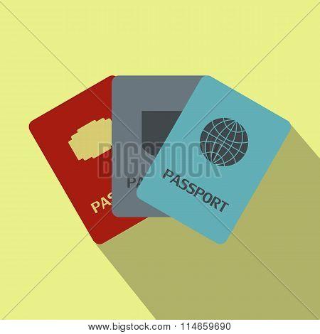 Three passports flat icon