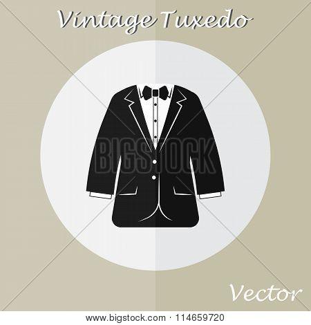 Vintage Tuxedo Suit ( Or Business Suit ) ( Vintage Style , Flat Design )