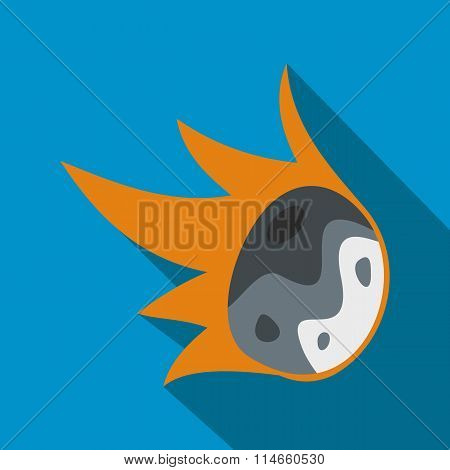 Falling meteor flat icon