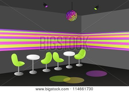 Night club disco interior table chair illustration vector