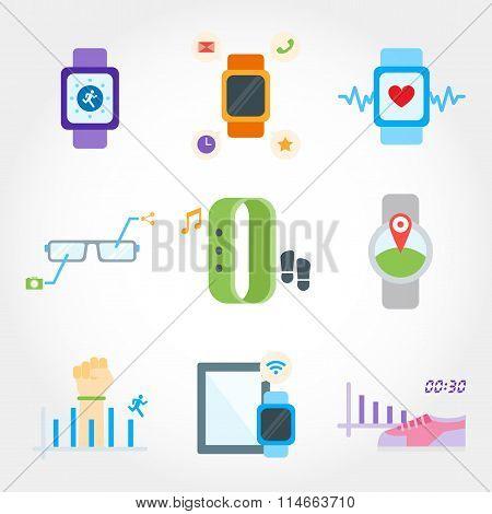 Wearable device flat design icon set