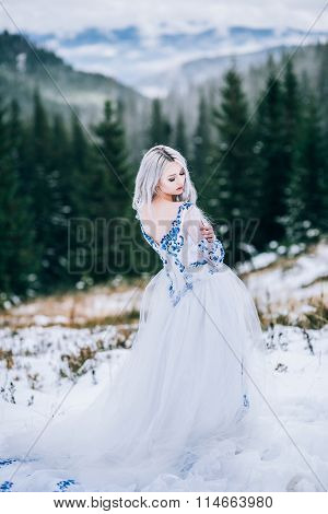 Bride In White In The Mountains Carpathians