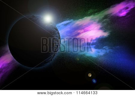 Blue Planet On Space With Colorful Nebula